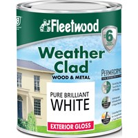 Fleetwood Weather Clad Exterior Gloss Brilliant White Paint - 750ml