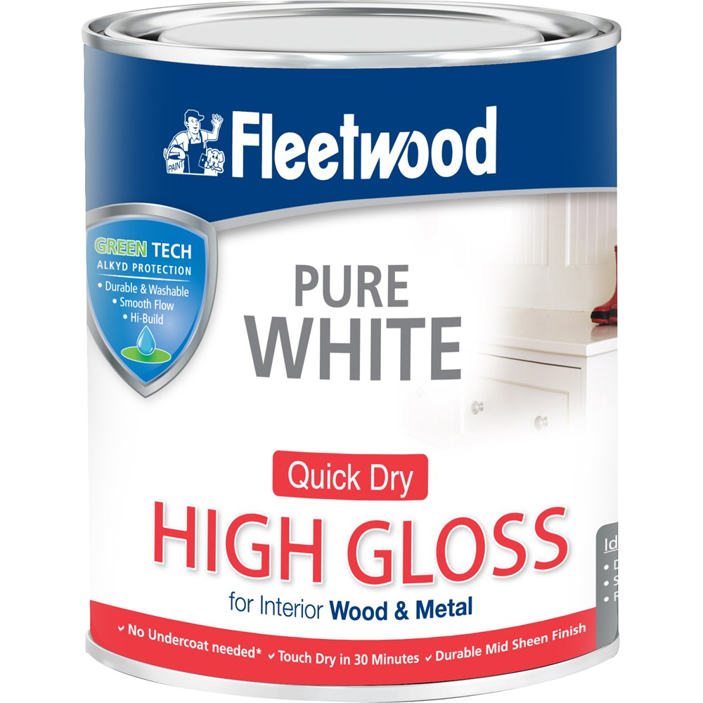 Fleetwood Quick Dry High Gloss Brilliant White Paint 750ml