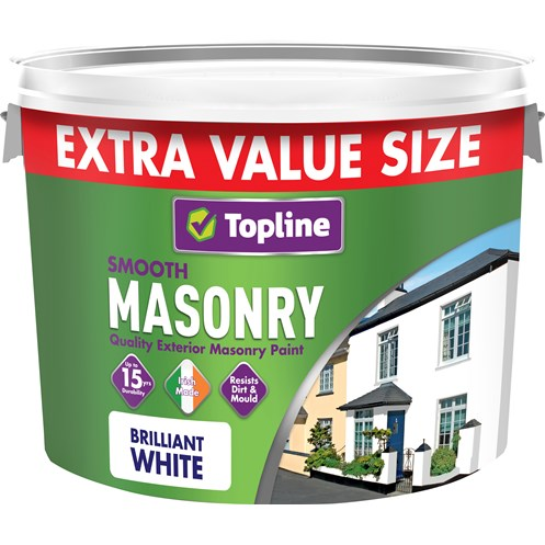 Topline  Smooth Masonry Brilliant White Paint - 10 Litre